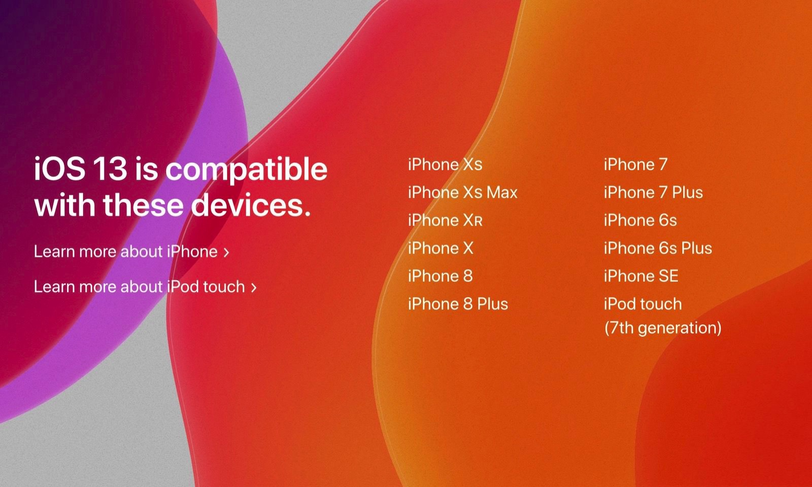 IOS13 compatible devices