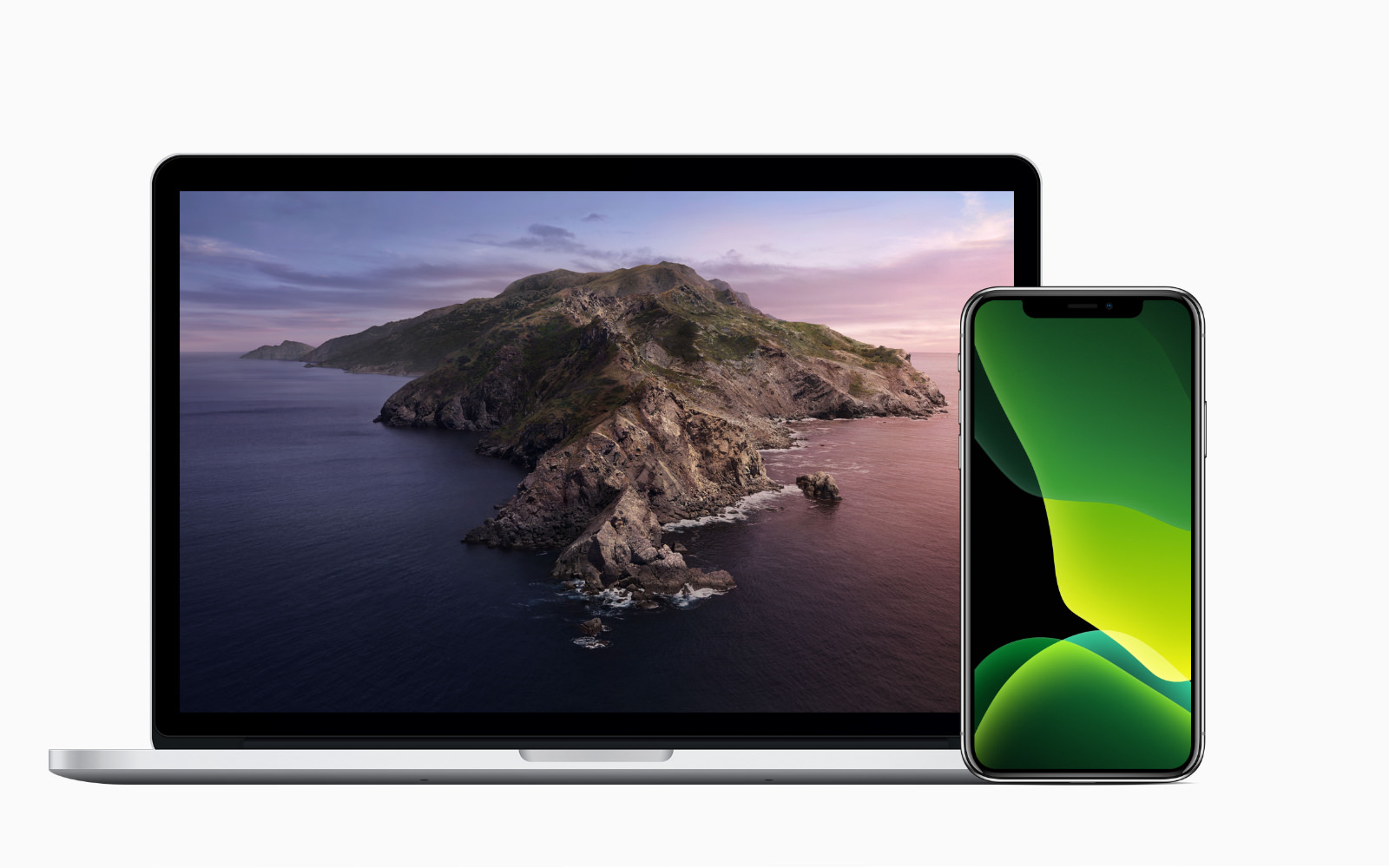Iphone and macbookpro with new wallpapers
