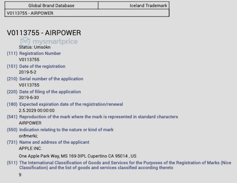 Apple Airpower Trademark at WIPO
