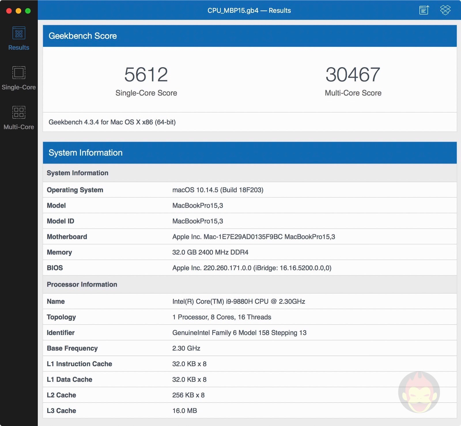 Lower end model mbp2019 geekbench