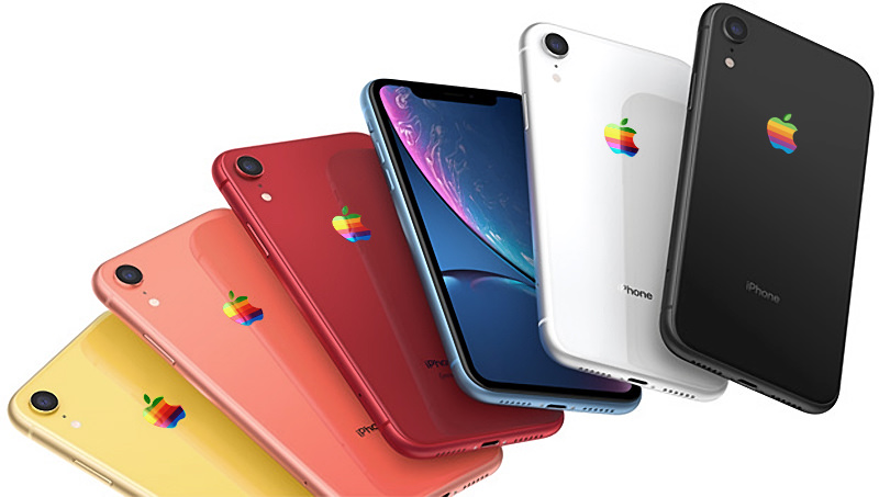 IPhone XR rainbow Apple logo concept