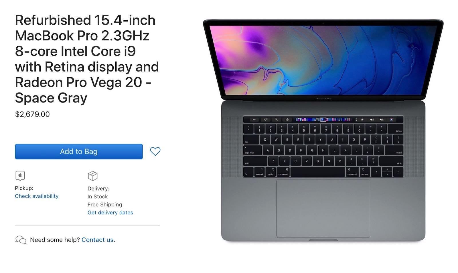 Apple refurbished macbookpro 2019 models