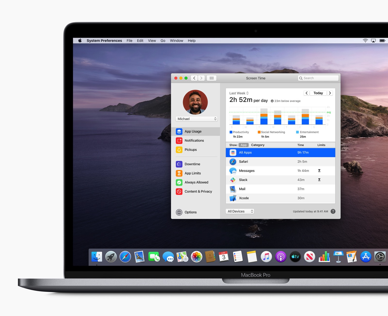 Apple previews macOS Catalina Screen Time screen 100719