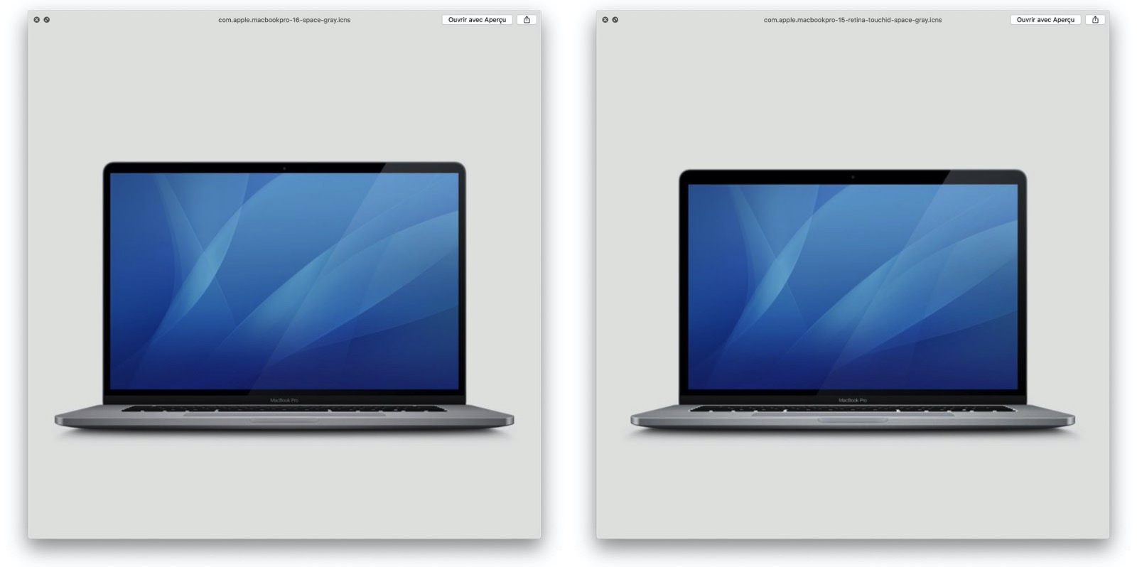 MacBook Pro 16inch model icons