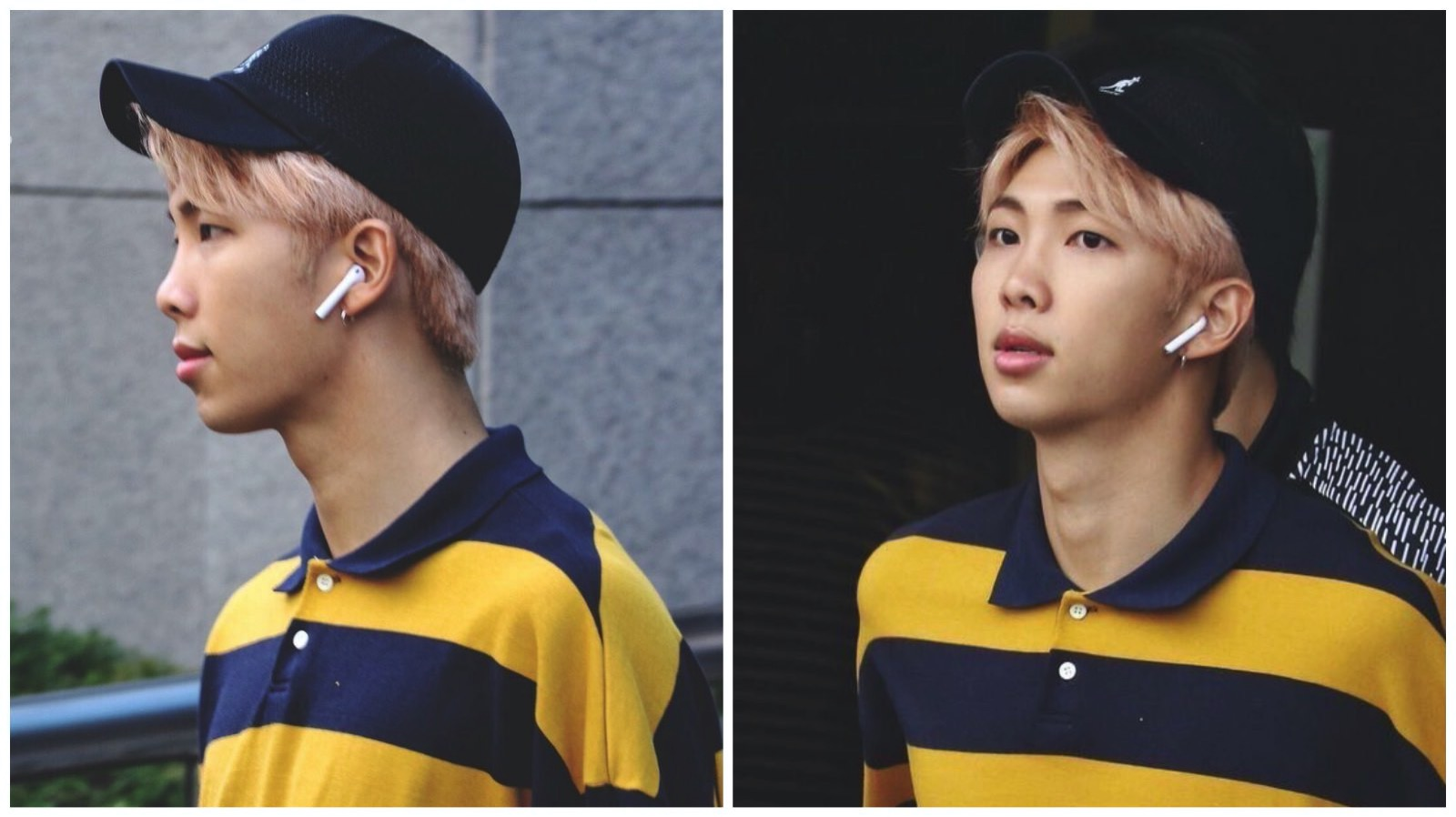 Kim Namjoon wearing airpods
