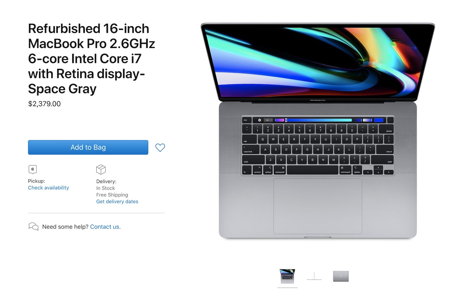 Apple Refurbished macbookpro16inc models