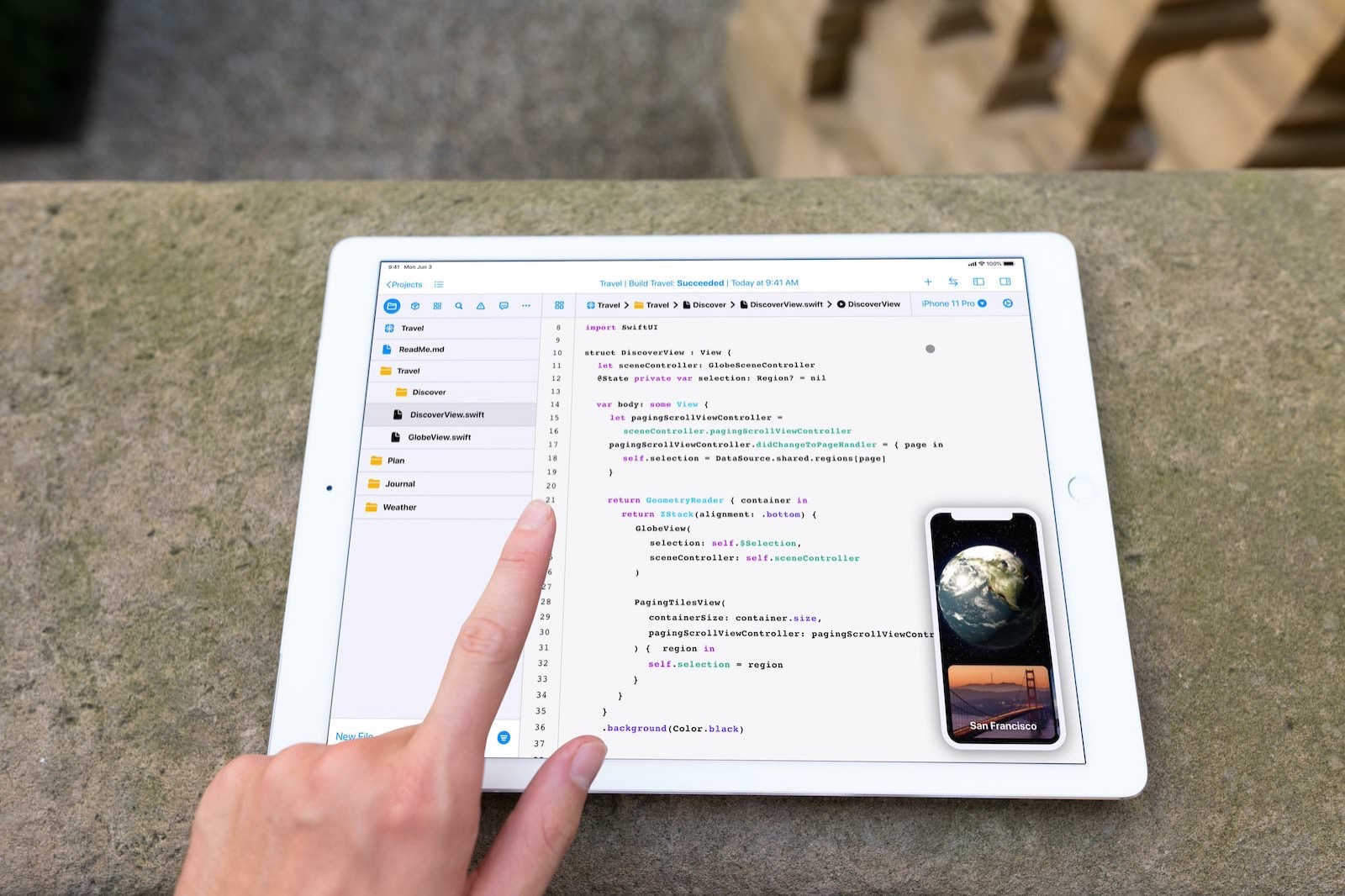 Concept image of xcode on ipad