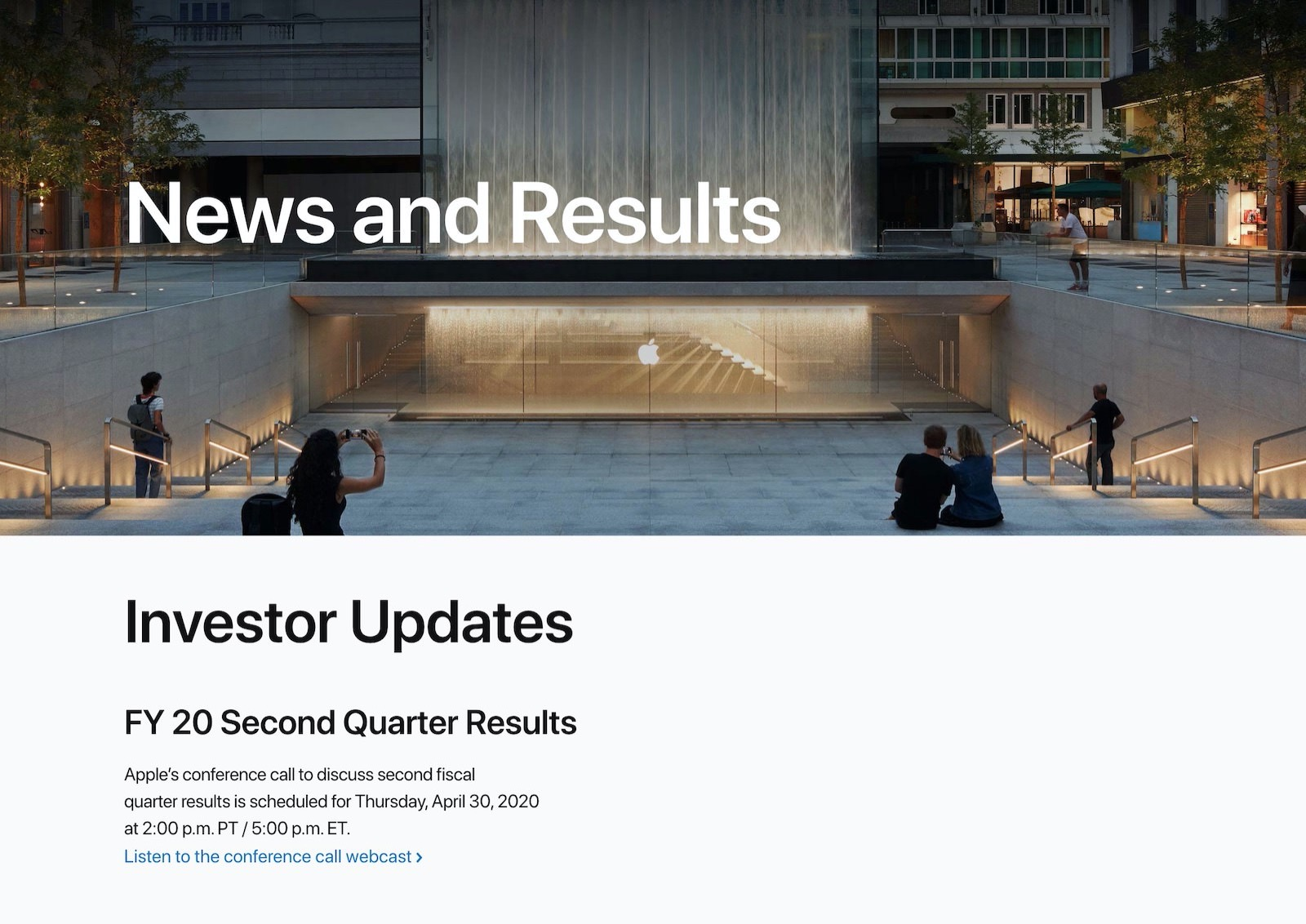 News and results apple investor updates