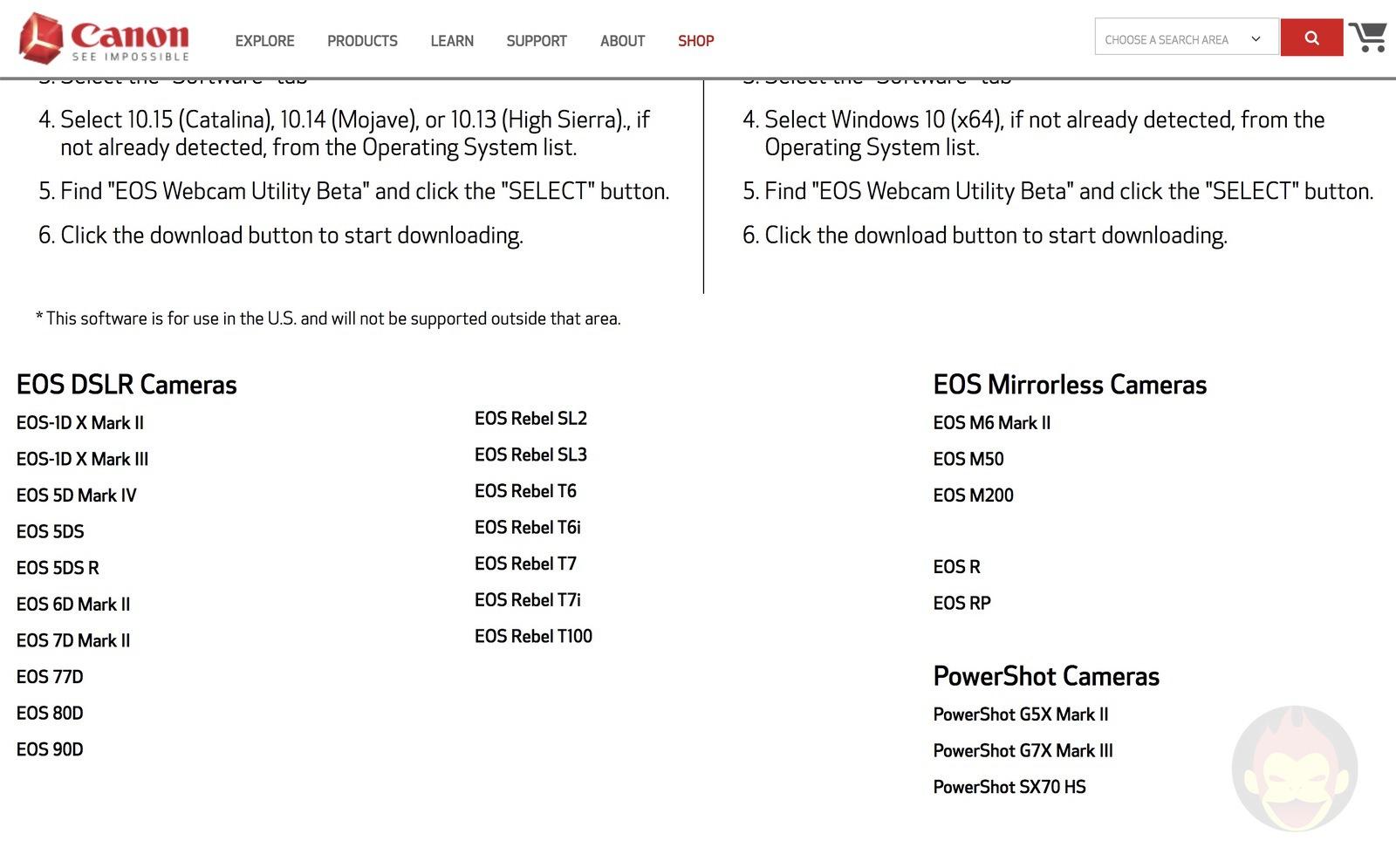 EOS Camera Utility Beta for Mac macOS 16