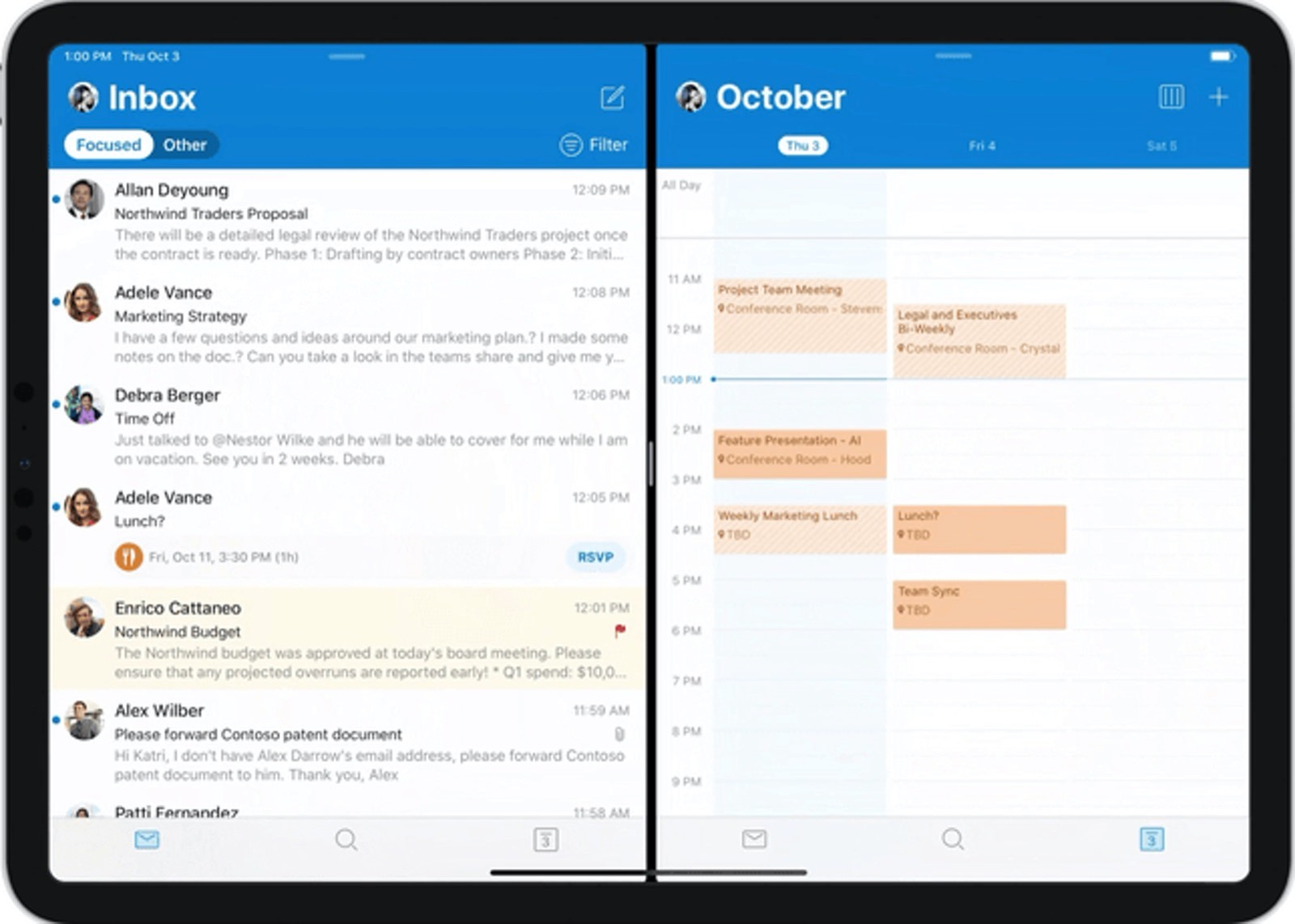 Split View Outlook for iPad