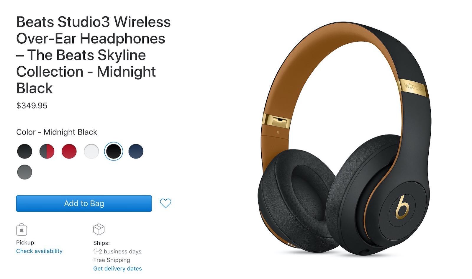 Beats studio3 wireless headphones the beats skyline collection midnight black