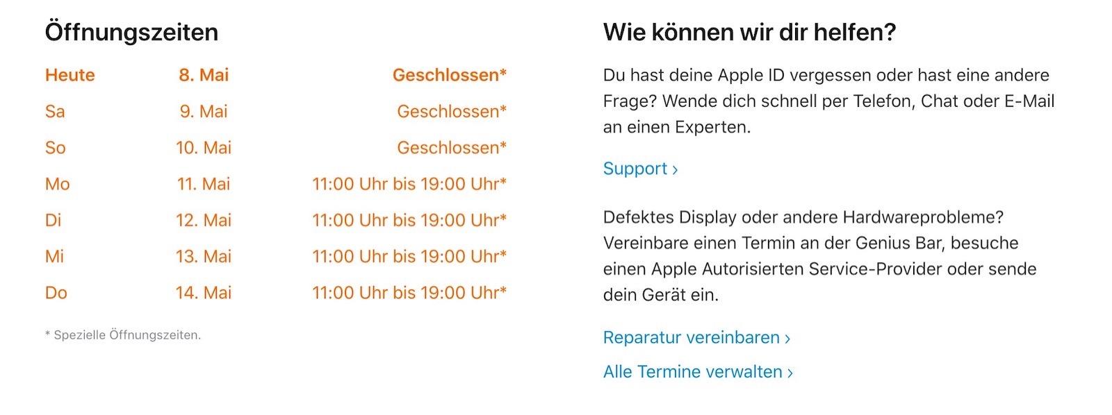 German apple store hours