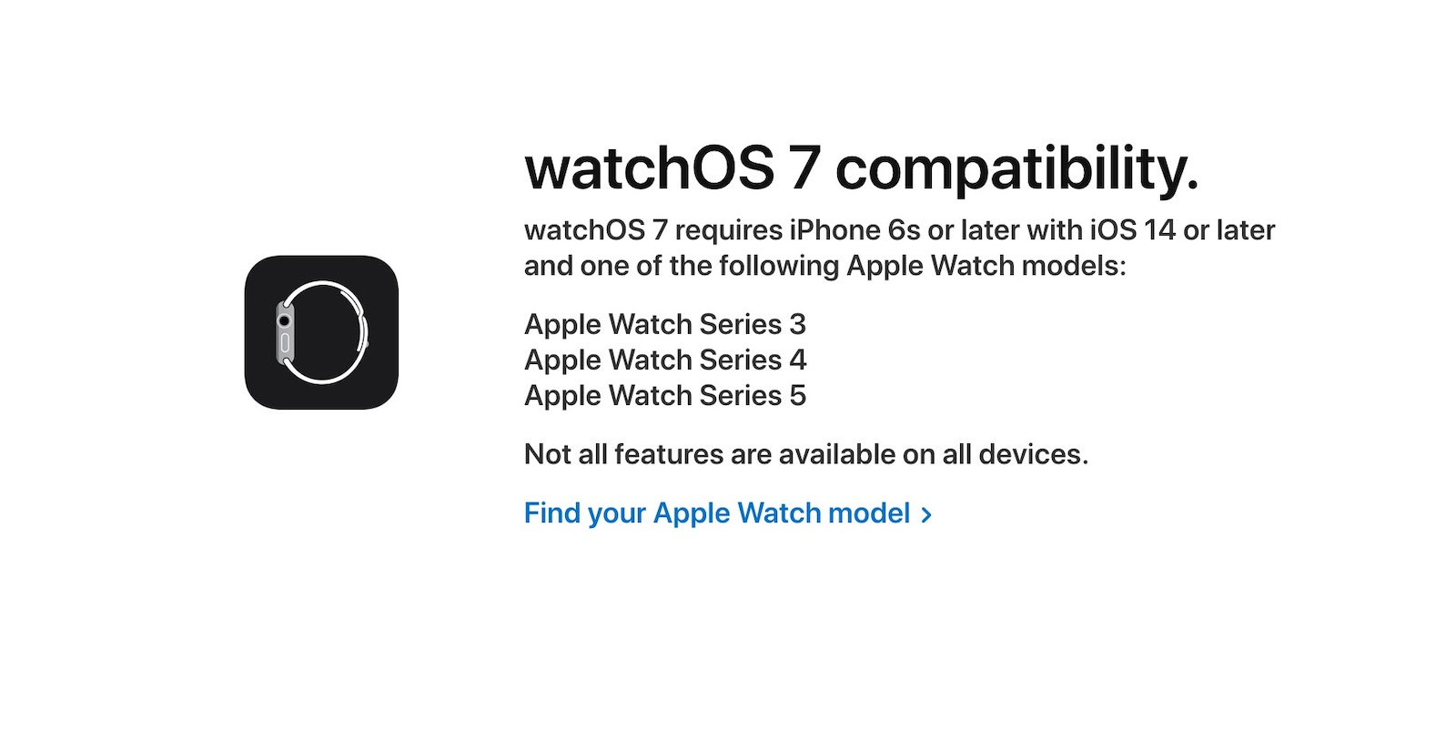WatchOS7 supported models
