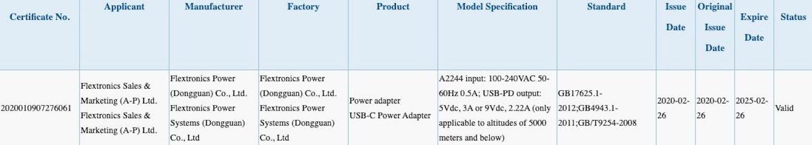 Apple A2244 3C