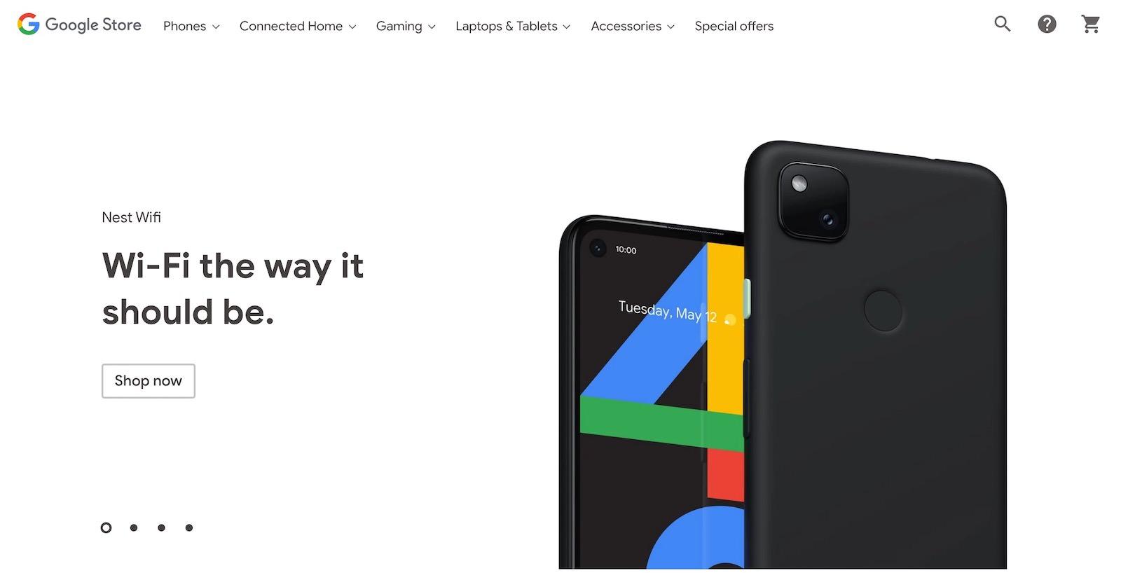 Google Pixel 4a on google store