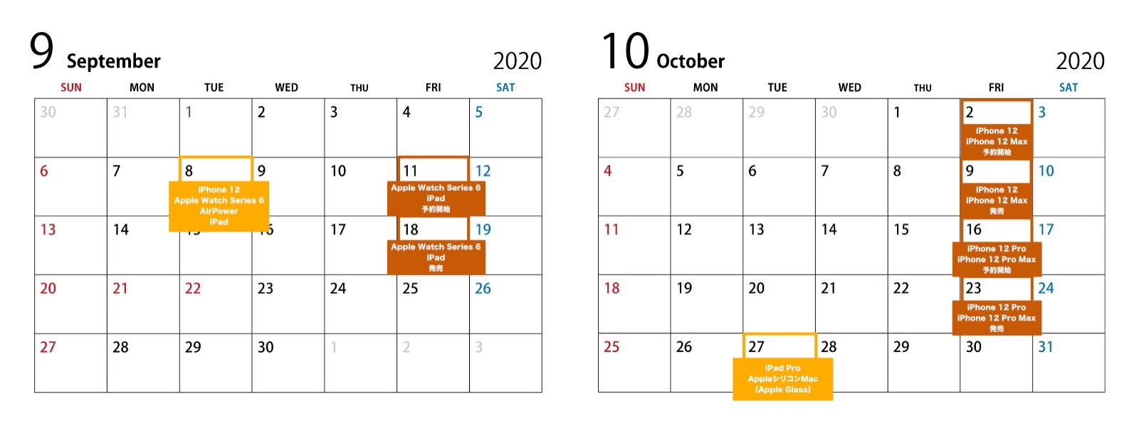 September and october event dates 2020