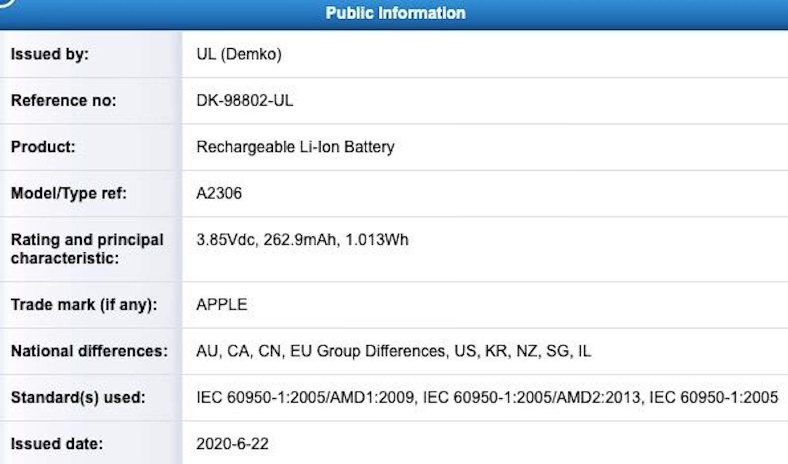 Apple A2306 UL Demko Battery