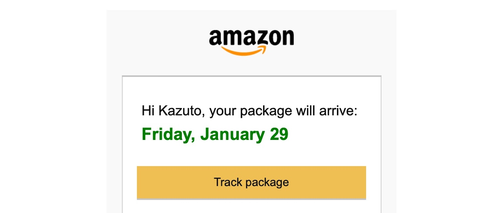 Amazon tracking information
