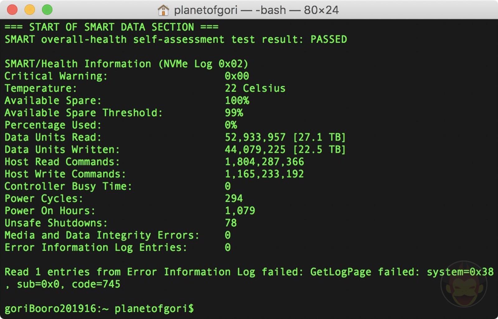 SMART SSD information for 16mbp2019 05