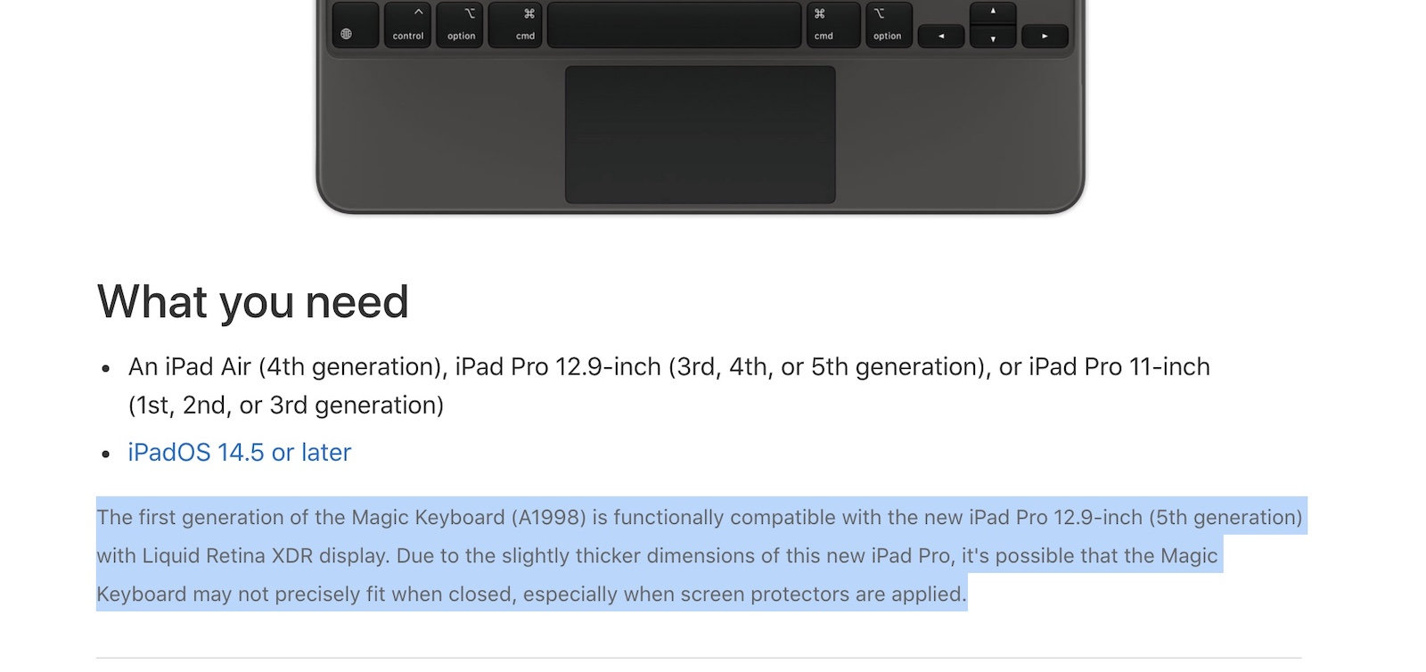 Apple Magic Keyboard support document