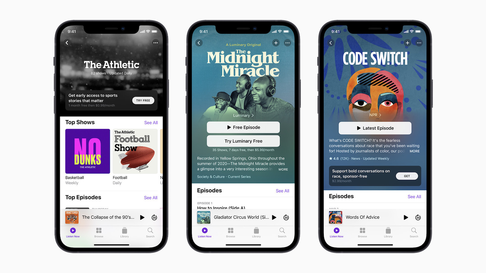 Apple iphone12 podcasts codeswitch theathletic midnightmiracle 042021