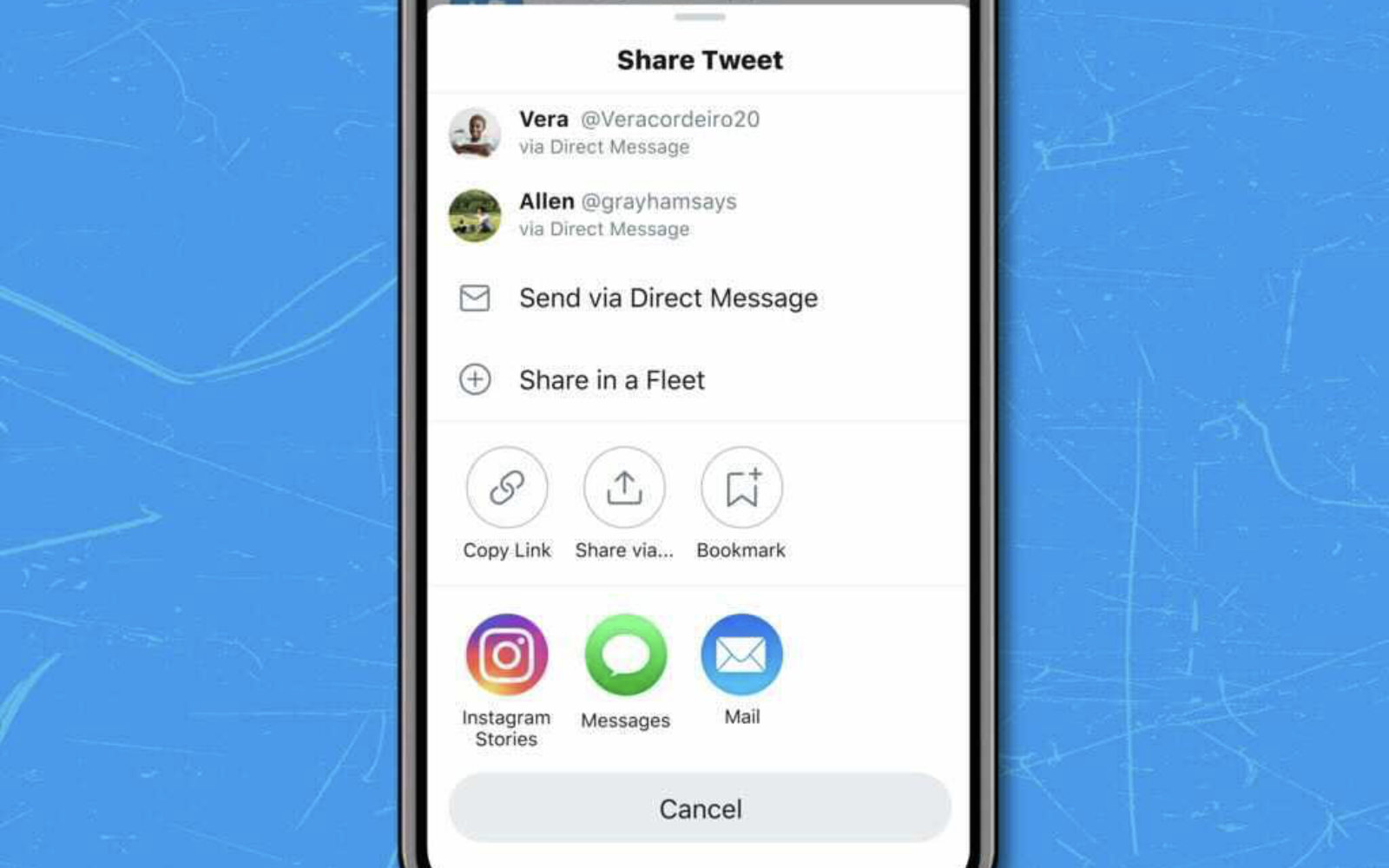 Share a tweet from twitter to instagram