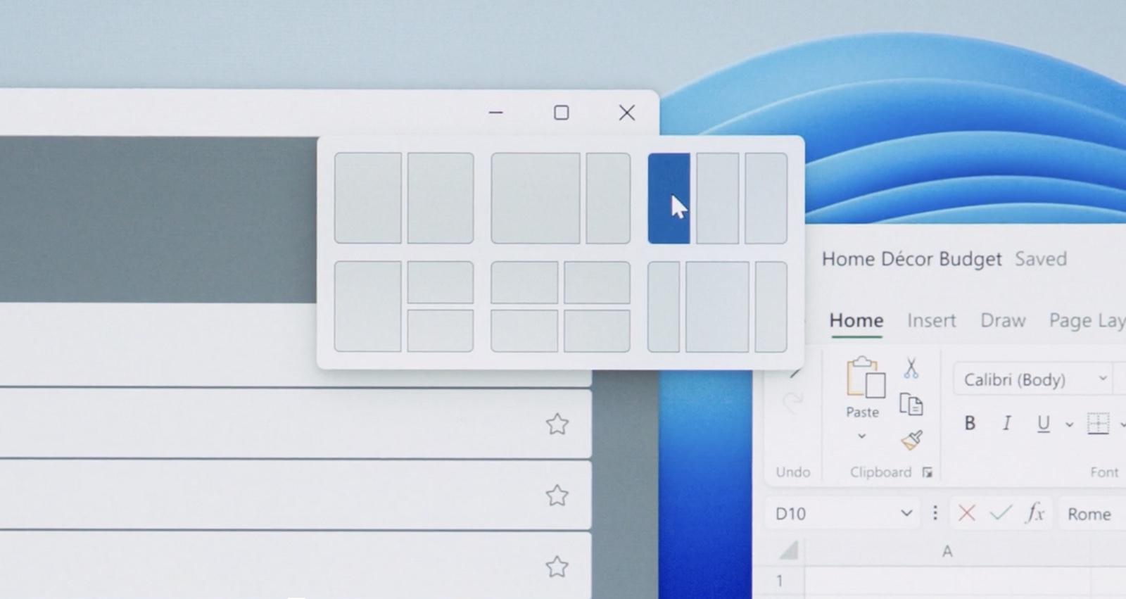 Windows 11 window snaplayout