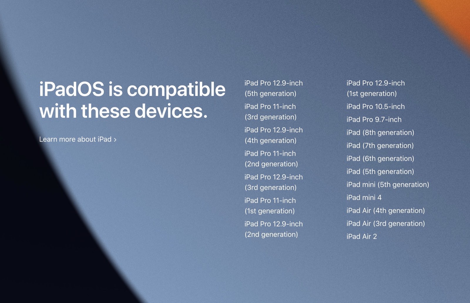 IPadOS15 compatibality list