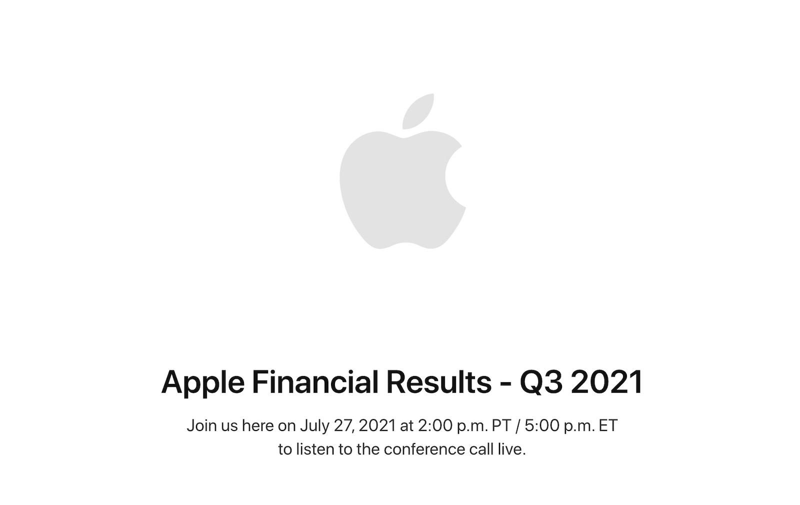 Apple financial call 2021 3q