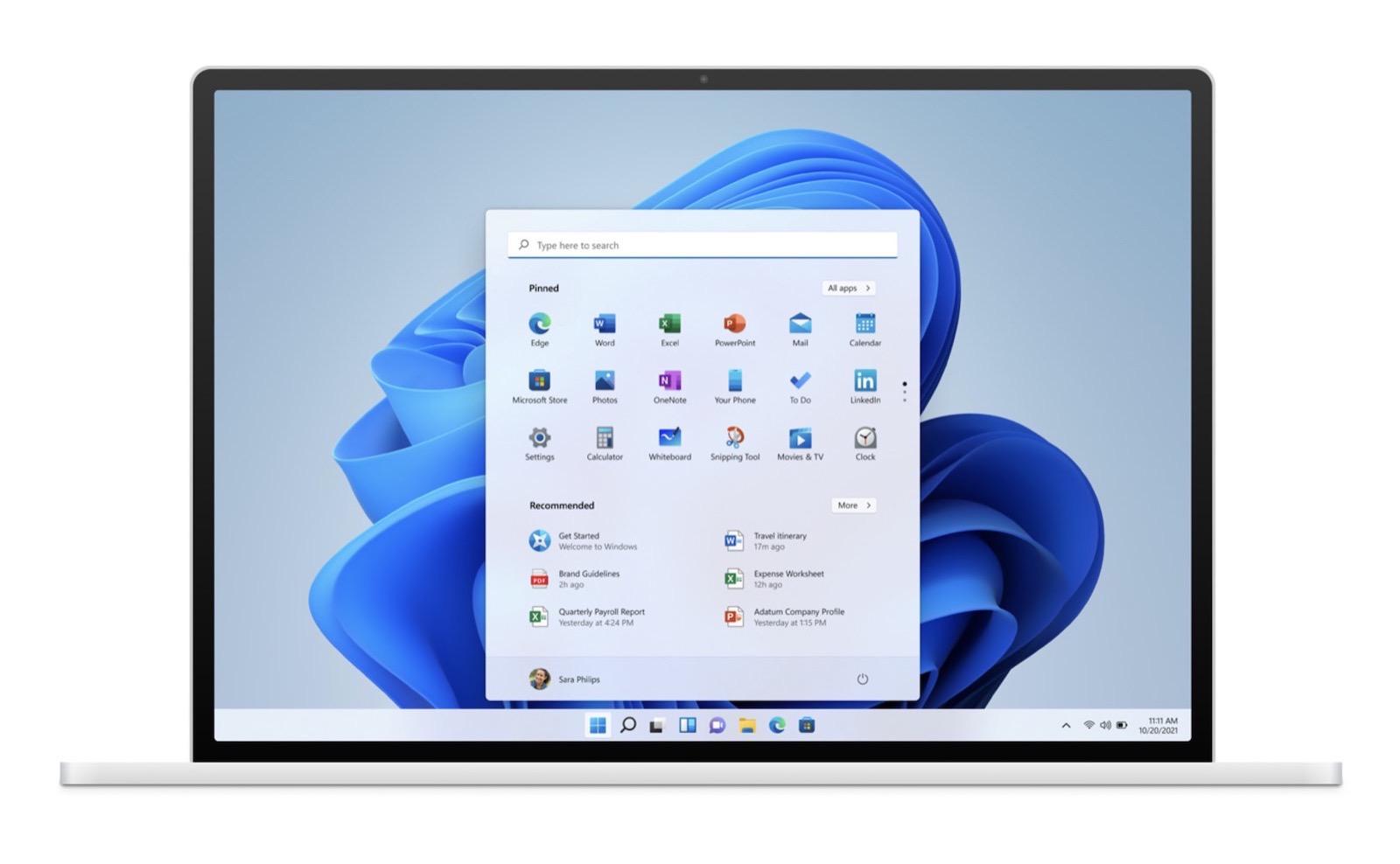 Windows 11 on laptop