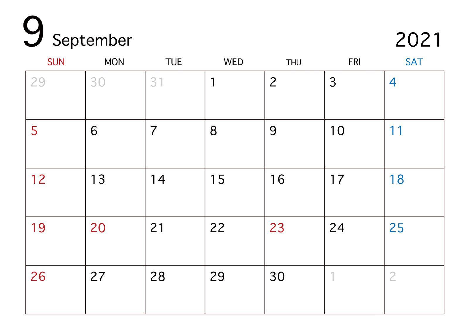 2021 Sep calendar