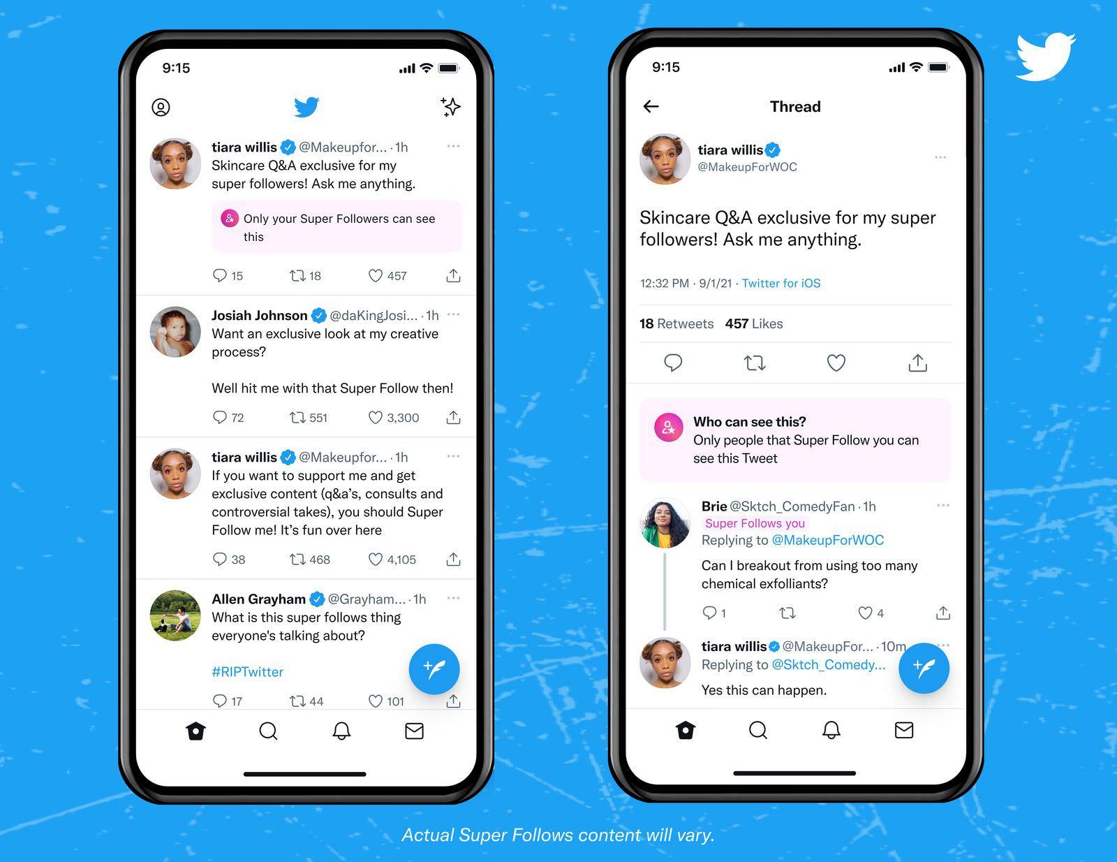 Creator view superfollows tweets