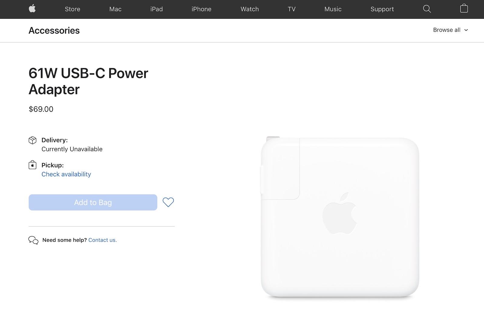 Apple USA 61W adaptor